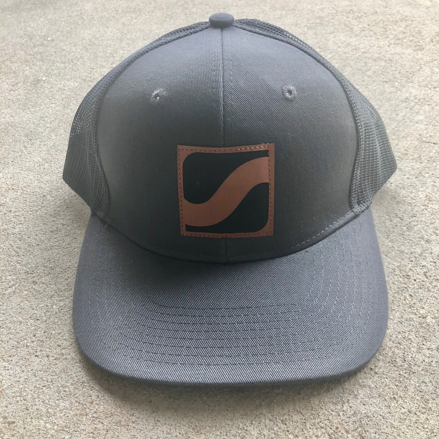 Faux Leather Logo Patch Hat