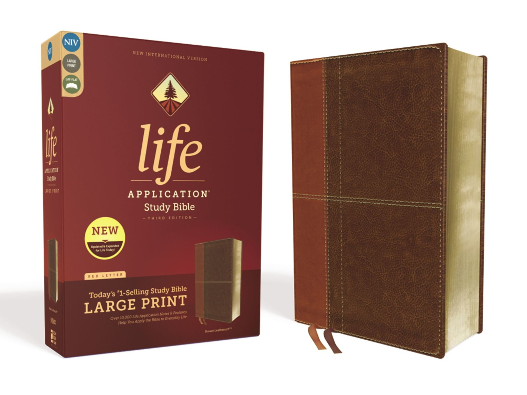 ZONDERVAN NIV Life Application Study Bible, Third Edition, Large Print, Leathersoft, Brown