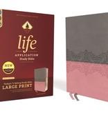 NIV Large Print Life Application Study Bible - Gray/Pink