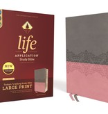 ZONDERVAN NIV Large Print Life Application Study Bible - Gray/Pink