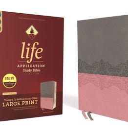 ZONDERVAN NIV Large Print Life Application Study Bible - Gray/Pink