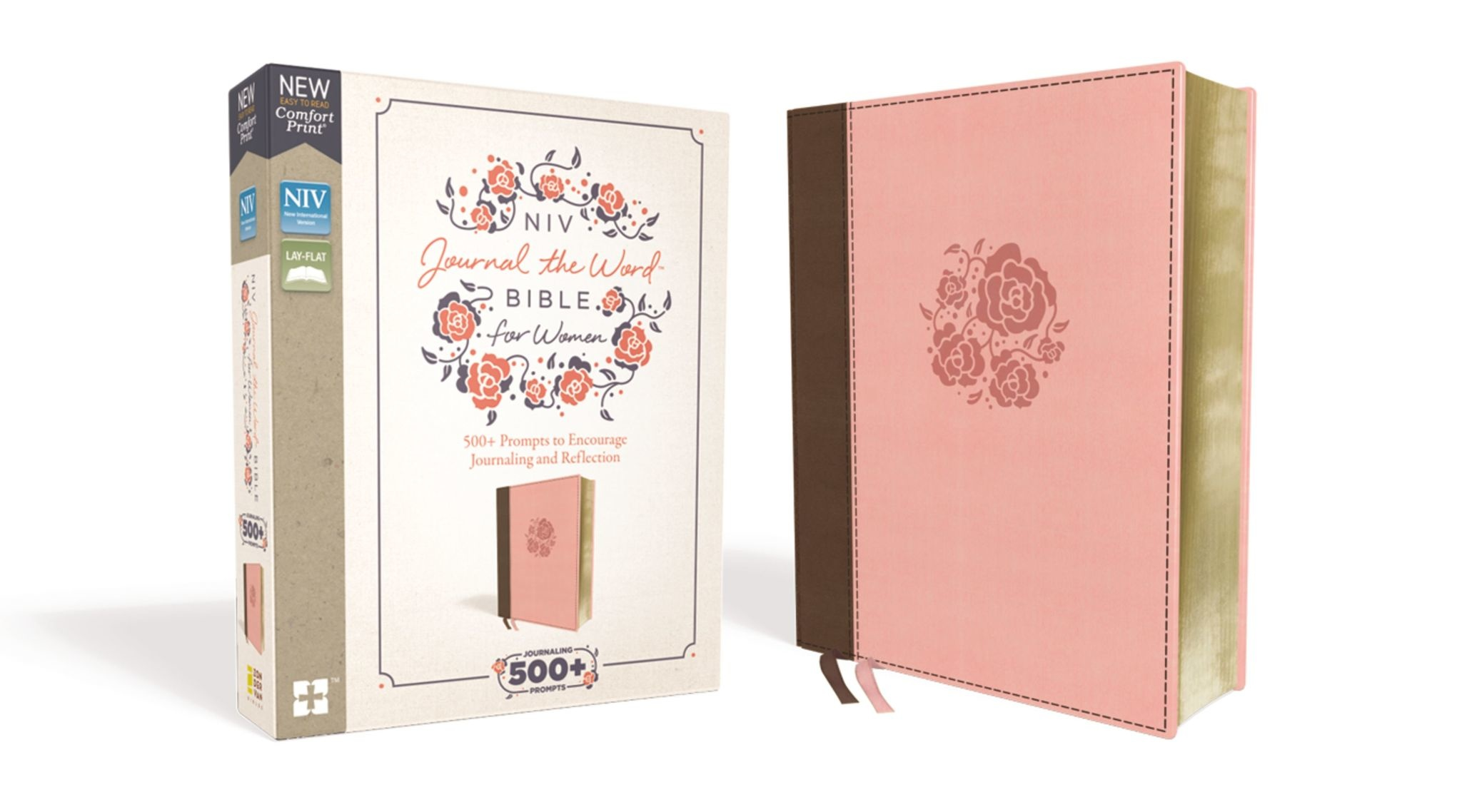 NIV, Journal the Word Bible for Women, Leathersoft, Brown/Pink, Red Letter Edition, Comfort Print