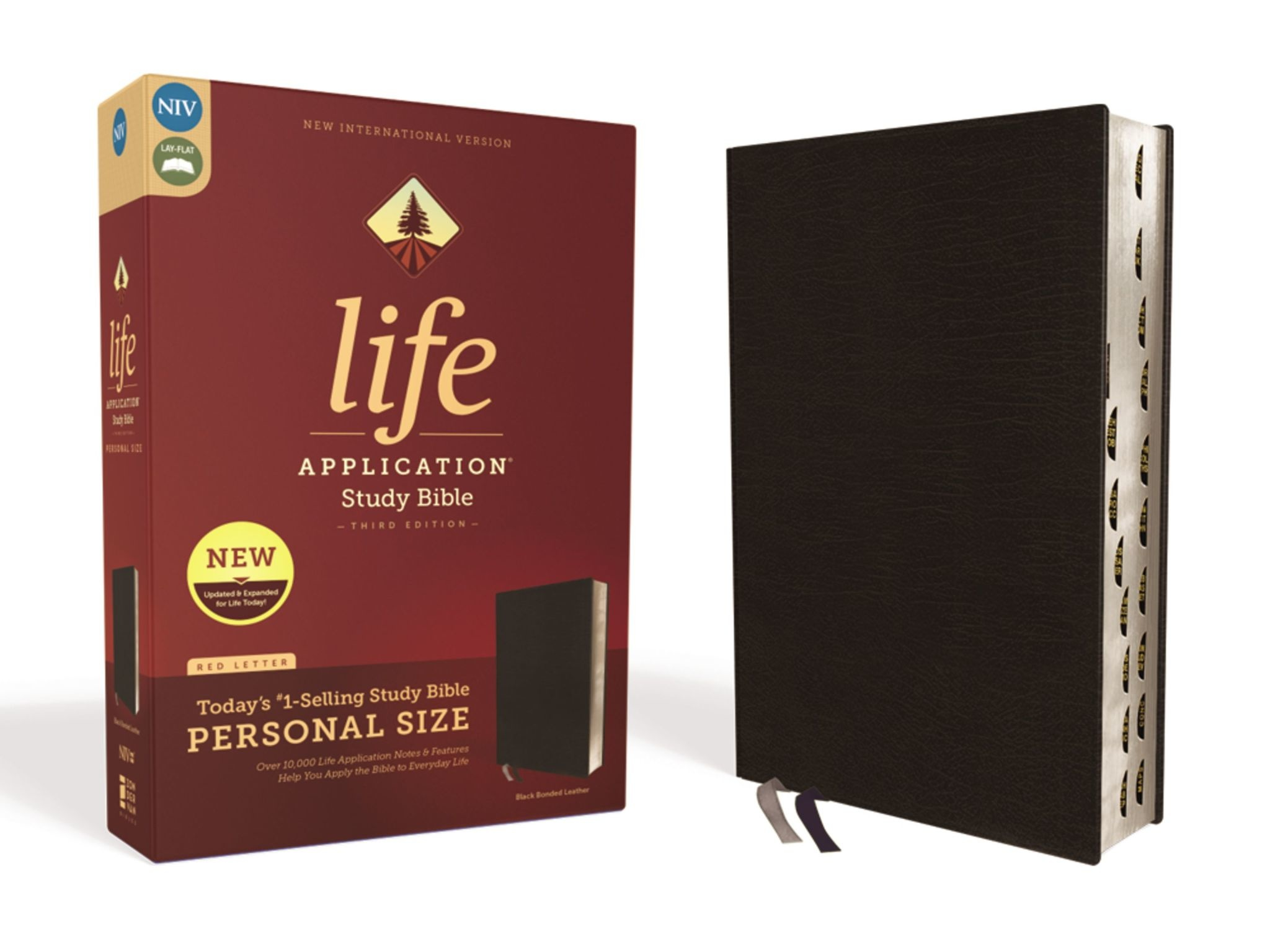 ZONDERVAN Personal Size NIV Life Application Study Bible - Black Indexed