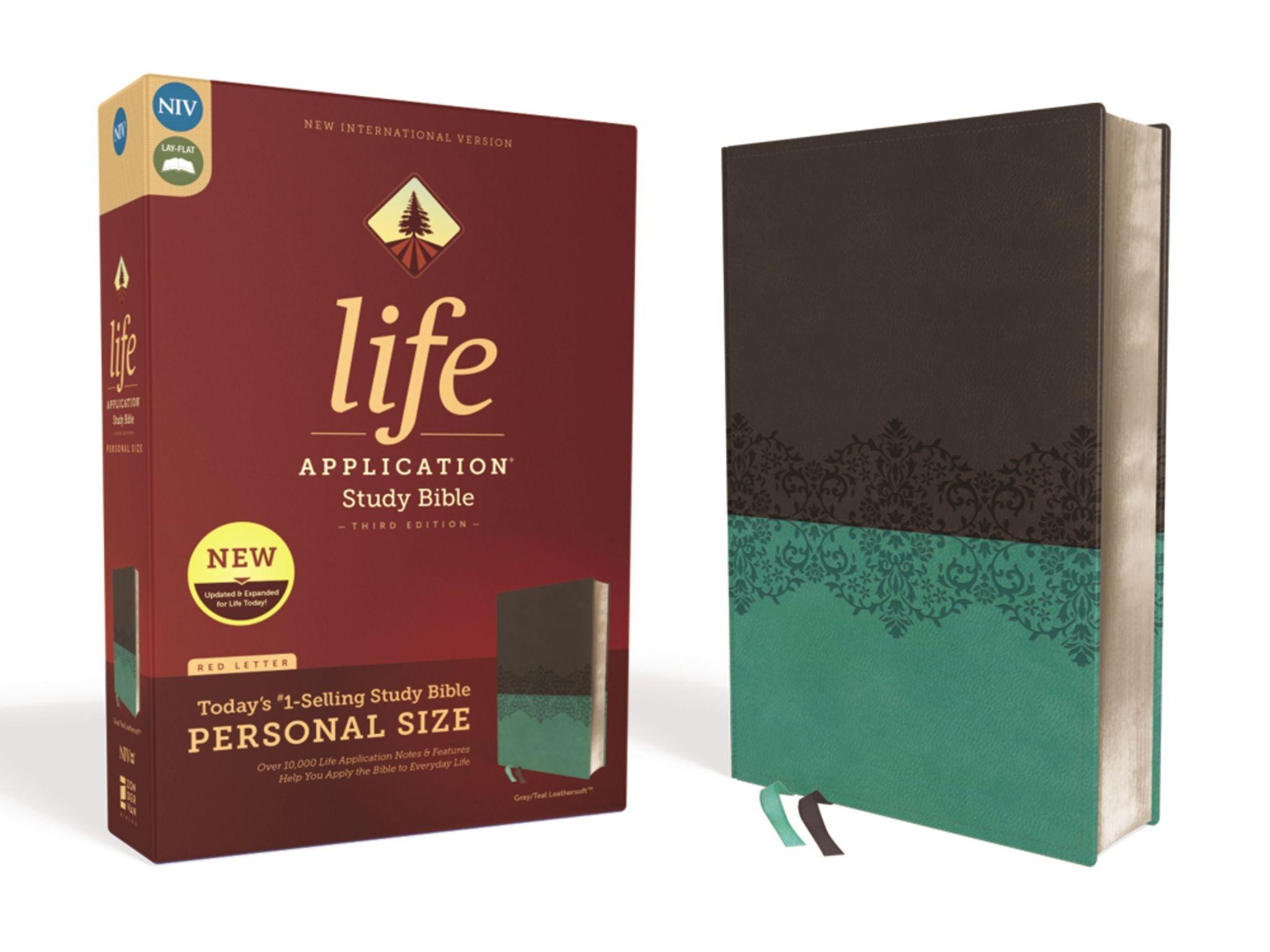 Personal Size NIV Life Application Study Bible - Gray/Teal