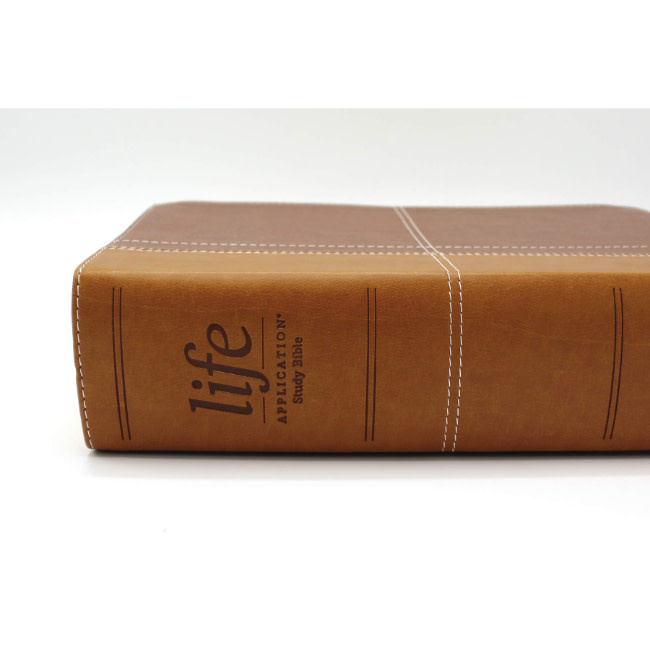 NIV, Life Application Study Bible, Third Edition, Large Print, Leathersoft, Brown, Red Letter Edition, Thumb Indexed