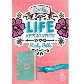 NLT Girls Life Application Study Bible - Teal/Pink Flowers