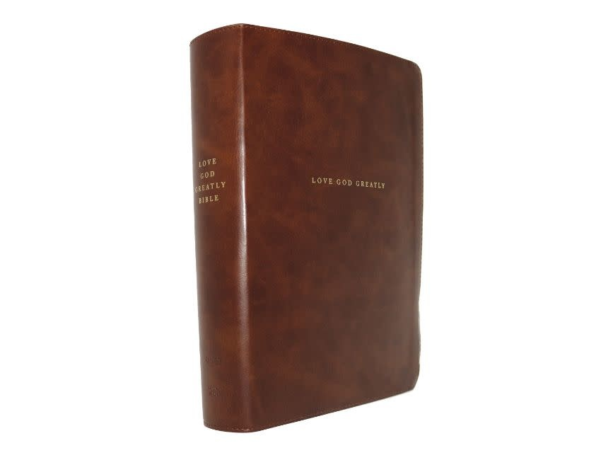 NET, Love God Greatly Bible, Leathersoft, Brown, Thumb Indexed, Comfort Print
