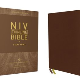 NIV, Thinline Bible, Giant Print, Genuine Leather, Buffalo, Brown, Red Letter Edition, Comfort Print