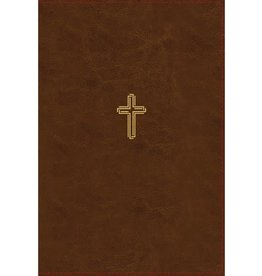 NASB, Thinline Bible, Large Print, Leathersoft, Brown, Red Letter Edition, 1995 Text, Thumb Indexed, Comfort Print