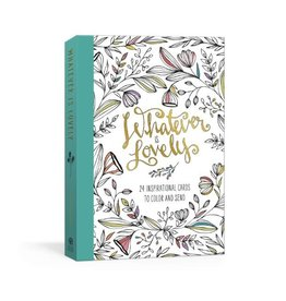 Whatever Is Lovely Postcard Book: Twenty-Four Inspirational Cards to Color and Send: Postcards -