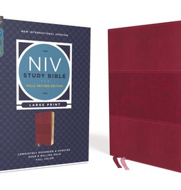 NIV Study Bible, Fully Revised Edition, Large Print, Leathersoft, Burgundy, Red Letter, Comfort Print