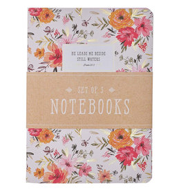 He Leads Me Pink Floral Large Notebook Set - Psalm 23:2
