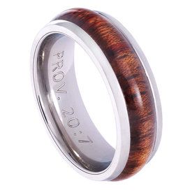 Stainless Steel Men's Ring with Wood Accent: Righteous Man - Proverbs 20:7 -