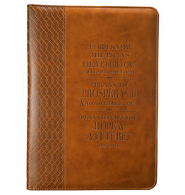 Tan Classic Luxleather Jeremiah 29:11 Leather Journal
