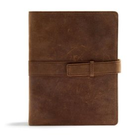 CSB Legacy Notetaking Bible--genuine leather, tan with strap