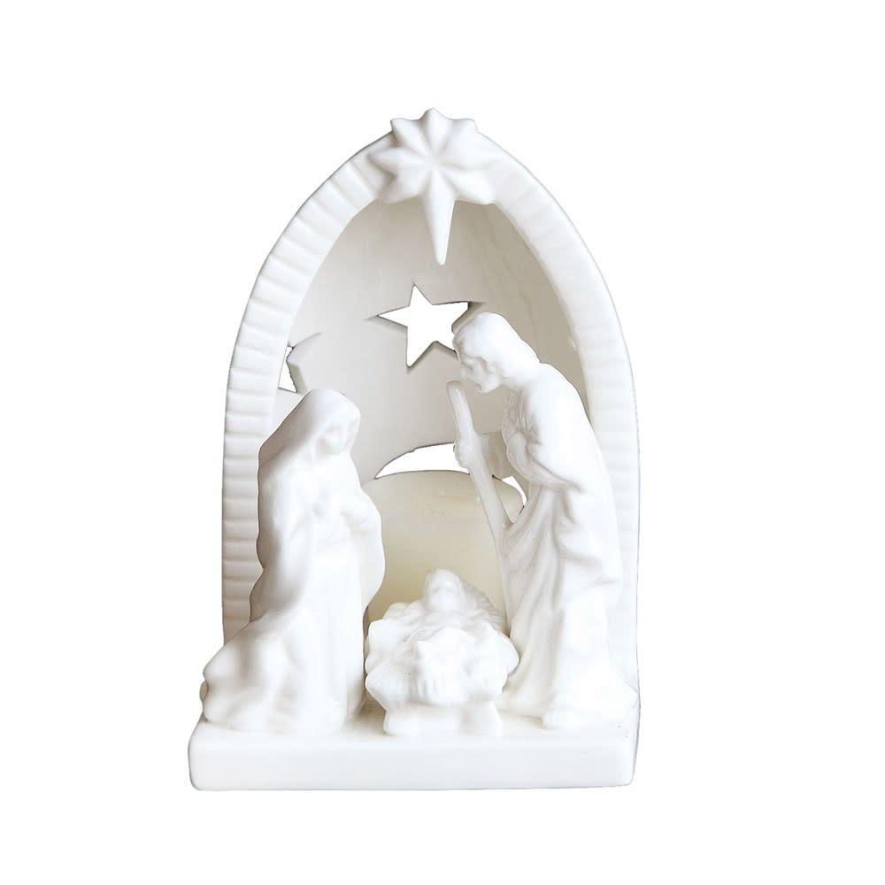 "6-1/2""H Ceramic Nativity Tealight Holder"