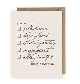 You are Fully Known Checklist Card