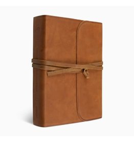ESV Single Column Journaling Bible®, Large Print - Natural Leather, Brown, Flap with Strap