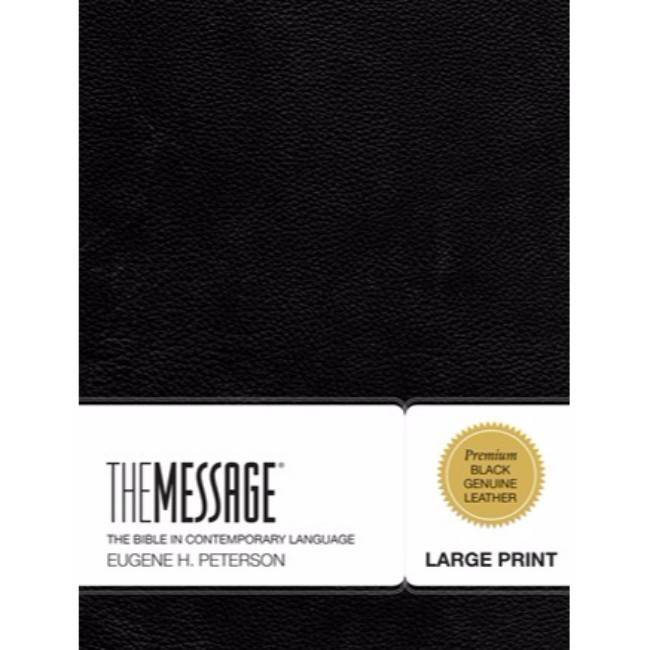 The Message Large Print Bible - Black Leather