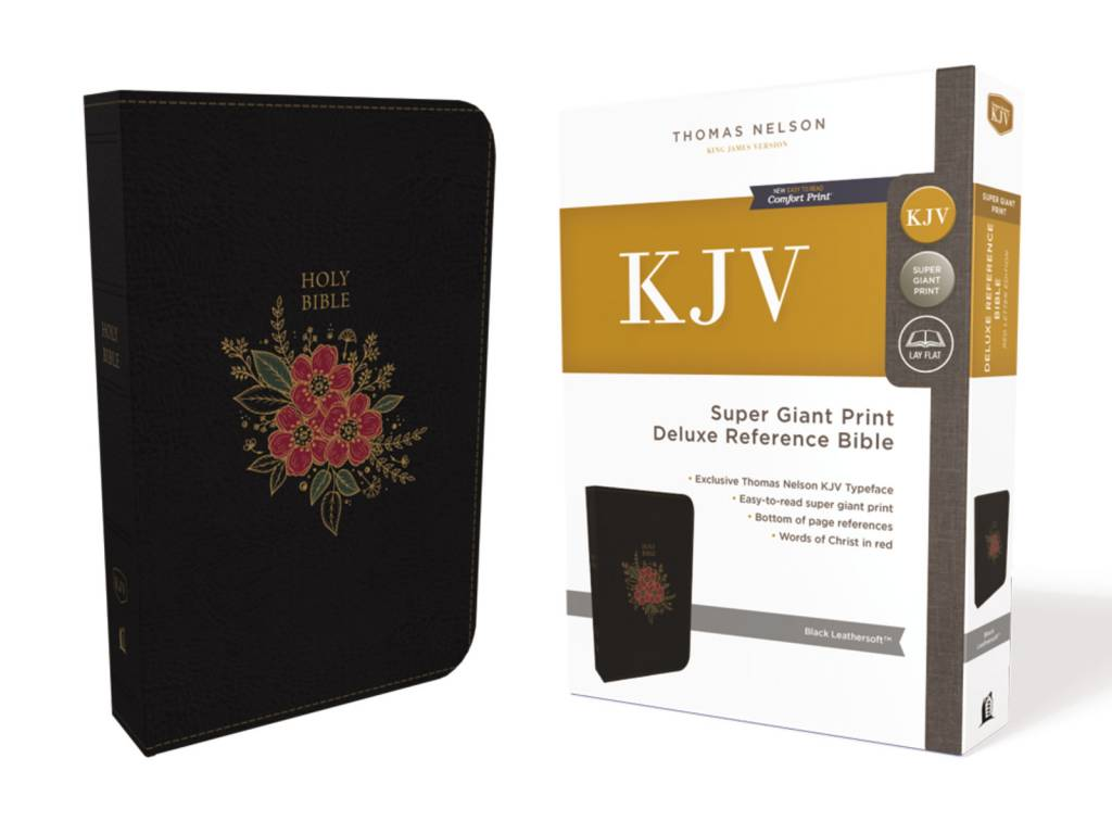 KJV Super Giant Print Deluxe Reference Bible - Black Leathersoft
