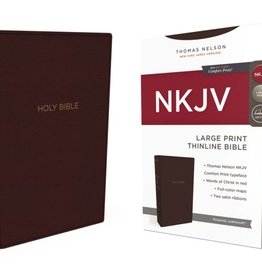 NKJV Large Print Thinline Bible - Burgundy Leathersoft