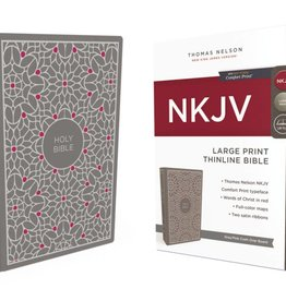 NKJV Large Print Thinline Bible - Gray/Pink Hardcover