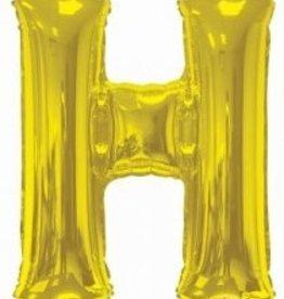 """34"""" Jumbo Letter H Balloon Gold"""