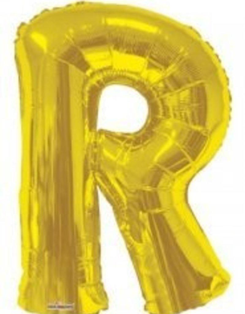 """34"""" Jumbo Letter R Balloon Gold"""
