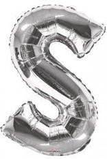 """34"""" Jumbo Letter S Balloon Silver"""