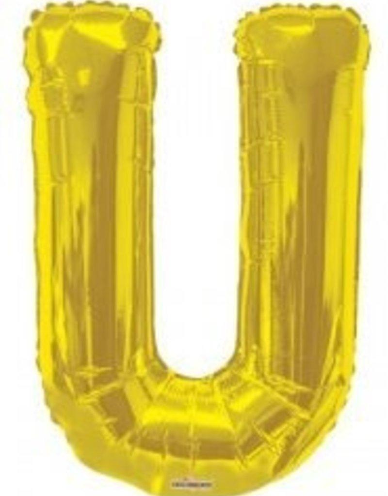 """34"""" Jumbo Letter U Balloon Gold"""