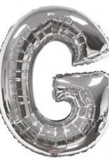 """34"""" Jumbo Letter G Balloon Silver"""