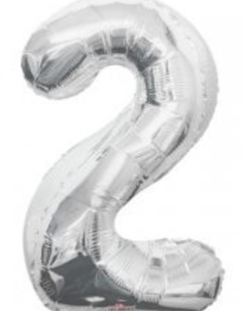 "34"" Silver Jumbo Number 2 Balloon"