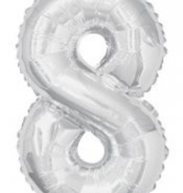 "34"" Silver Jumbo Number 8 Balloon"