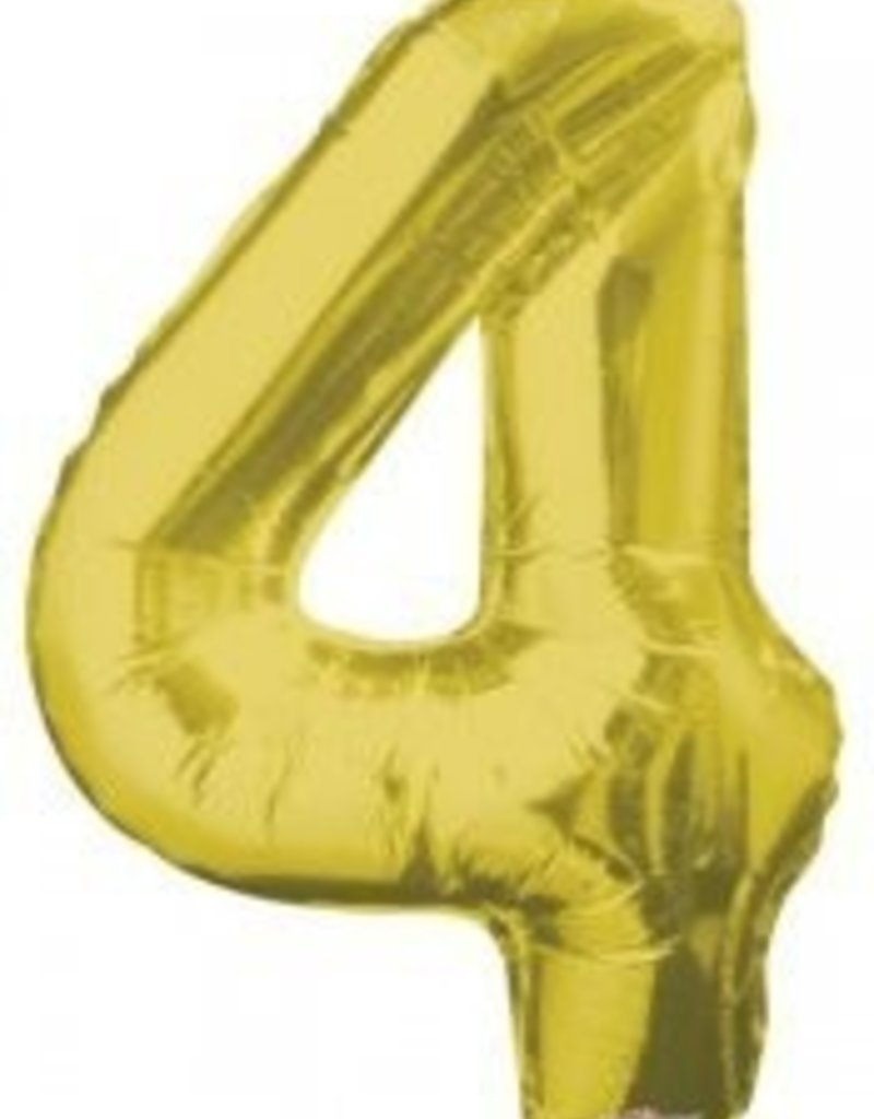 """34"""" Gold Jumbo Number 4 Balloon"""