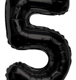 """34"""" Black Jumbo Number 5 Balloon"""