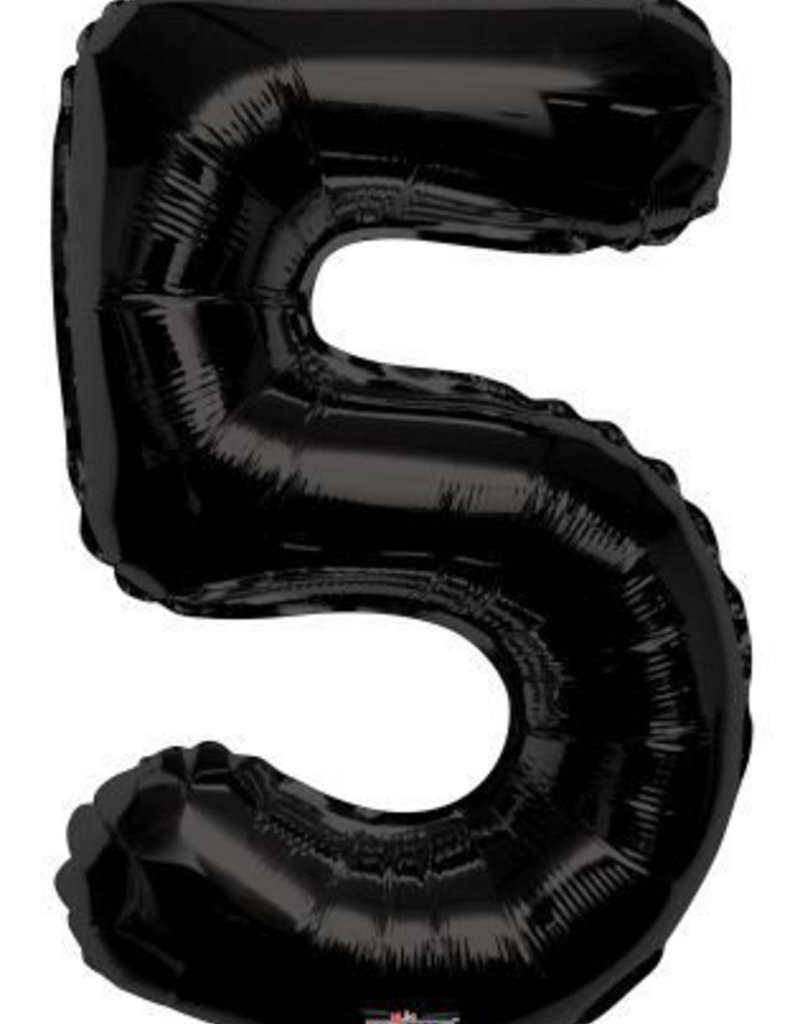 "34"" Black Jumbo Number 5 Balloon"