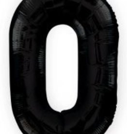 """34"""" Black Jumbo Number 0 Balloon"""