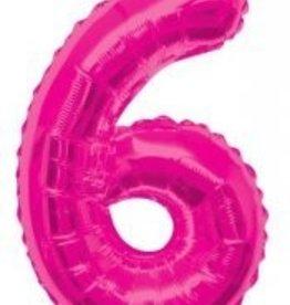 """34"""" Pink Jumbo Number 6 Balloon"""