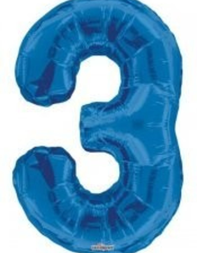 "34"" Blue Jumbo Number 3 Balloon"