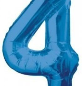 "34"" Blue Jumbo Number 4 Balloon"