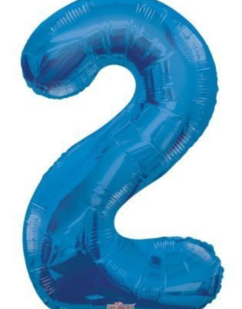 """34"""" Blue Jumbo Number 2 Balloon"""