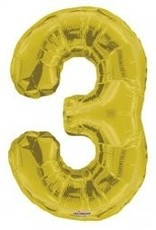 "34"" Gold Jumbo Number 3 Balloon"