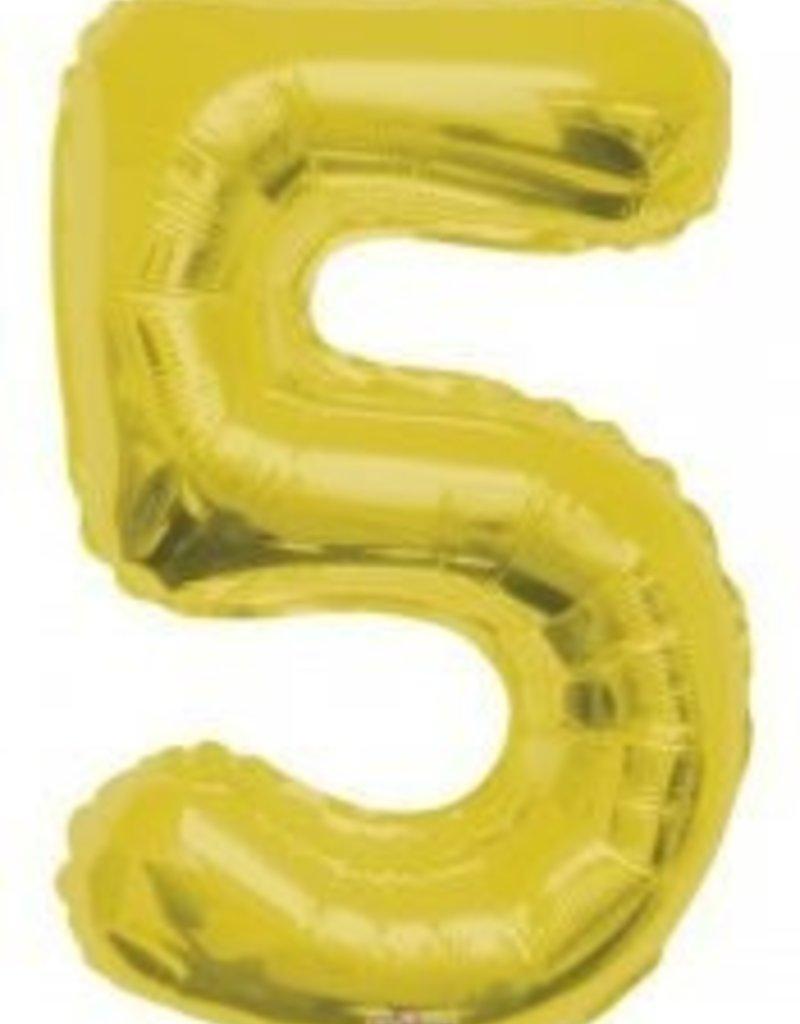 """34"""" Gold Jumbo Number 5 Balloon"""