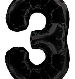 """34"""" Black Jumbo Number 3 Balloon"""
