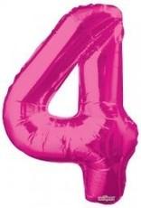 """34"""" Pink Jumbo Number 4 Balloon"""