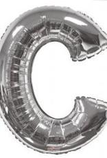 """34"""" Silver Jumbo Letter C Balloon"""