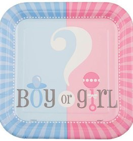 10 count Gender Reveal Square Cake Plates