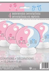 4 Gender reveal honeycomb decorations  baby shower
