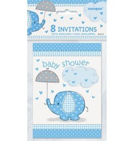 8 count Blue Elephant baby shower Invitations