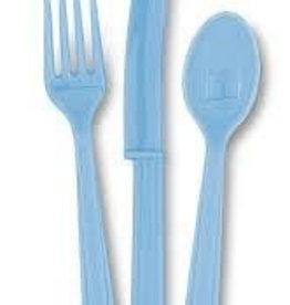 18 Asst Cutlery Powder Blue baby shower